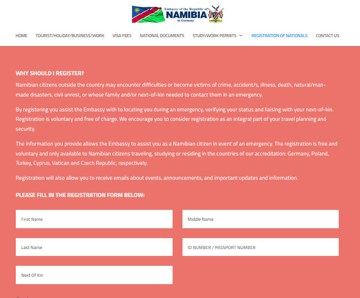 Registration of Namibian citizens in Germany